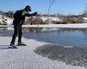 1.Test síly ledu u živé vody - slepé rameno Labe u Kostelce