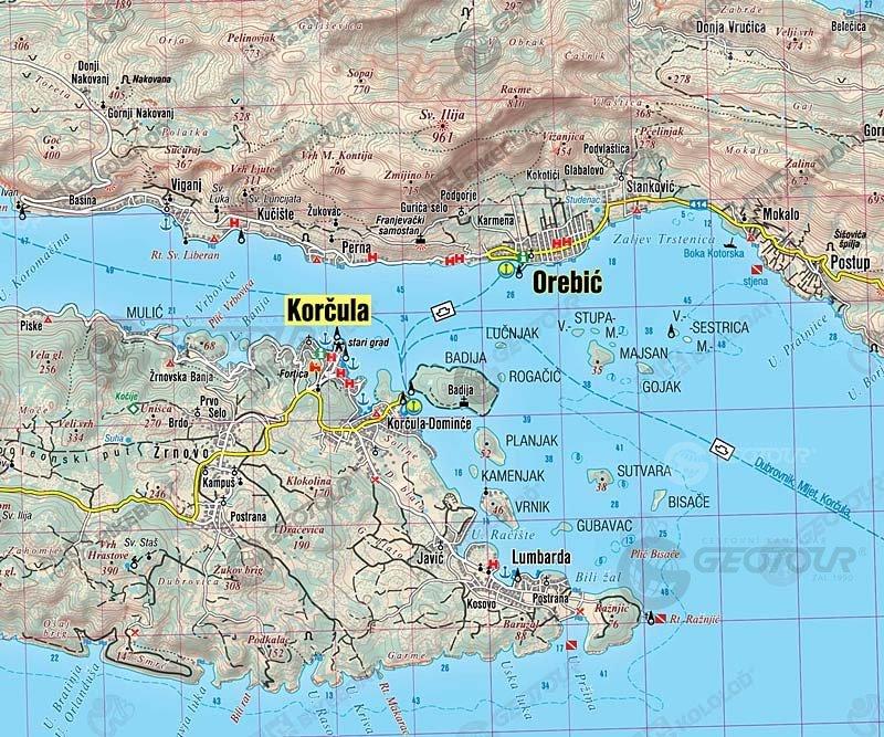 Mapa Orebic Chorvatsko Mapa