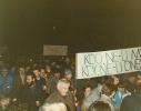 """Klidná rozhodnost manifestujících před vyšehradským Slavínem - právě padlo rozhodnutí """"jít do města""""."""
