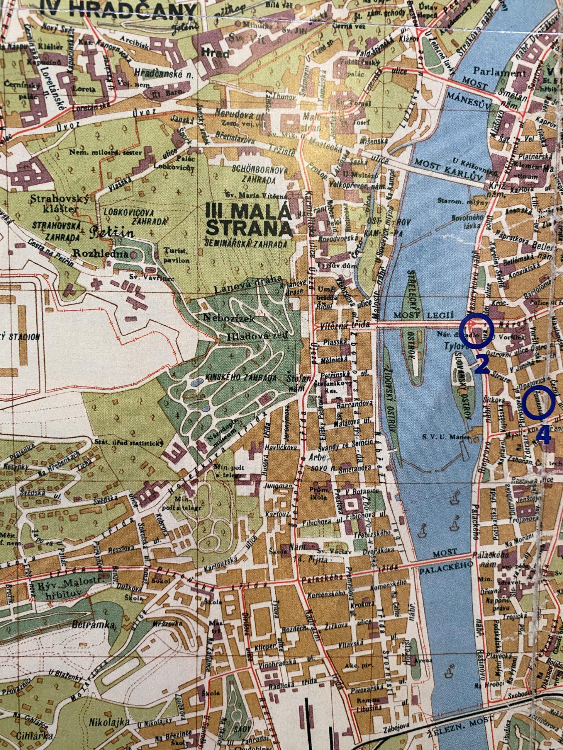 Orientační plán hl. m. Prahy 1929 - výřez